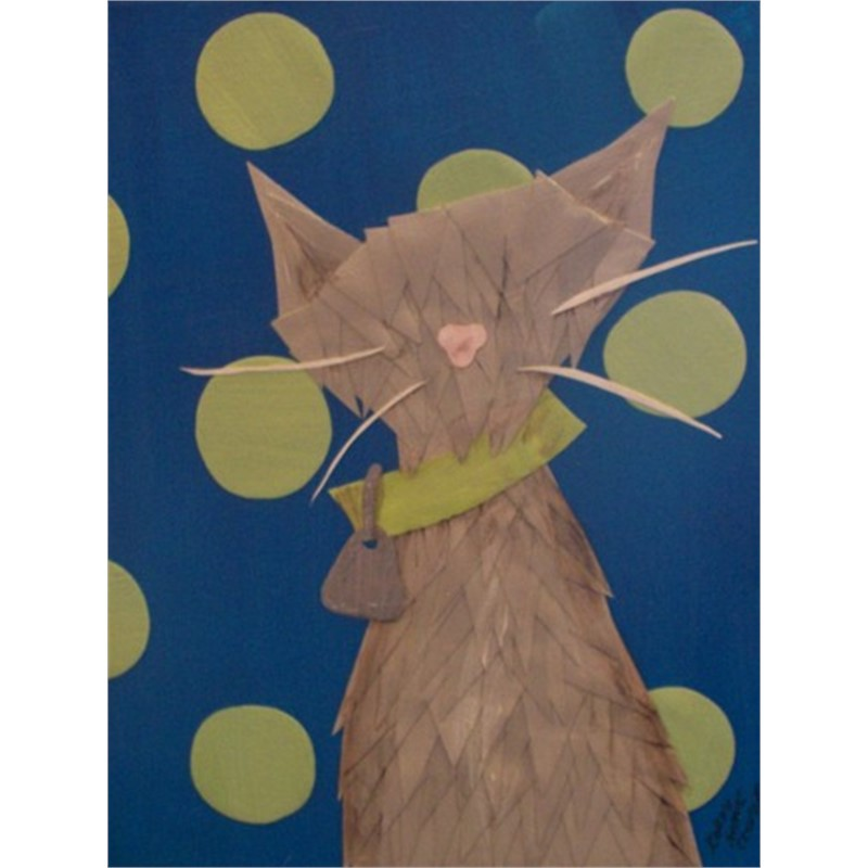 Grey Cat with Green Polka Dots