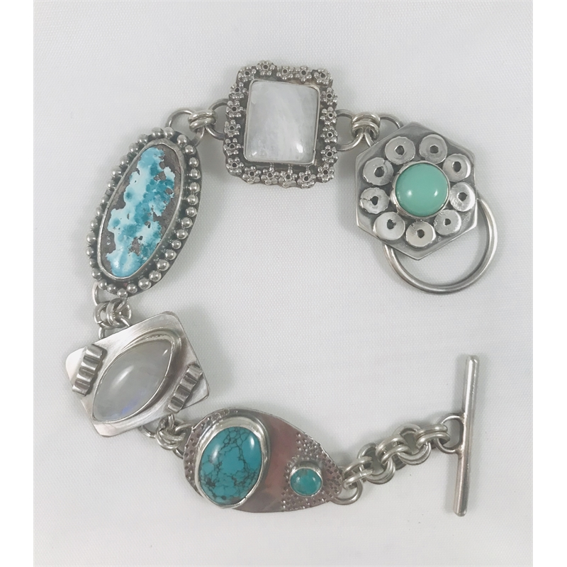 Turquoise, moonstone and chrysophase bracelet set in sterling, 2020