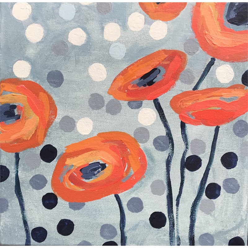 Orange Poppies and Dots II