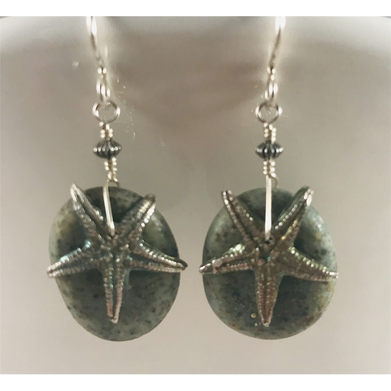 """Glass """"stone"""" with fine silver starfish earrings by Linda Sacra"""