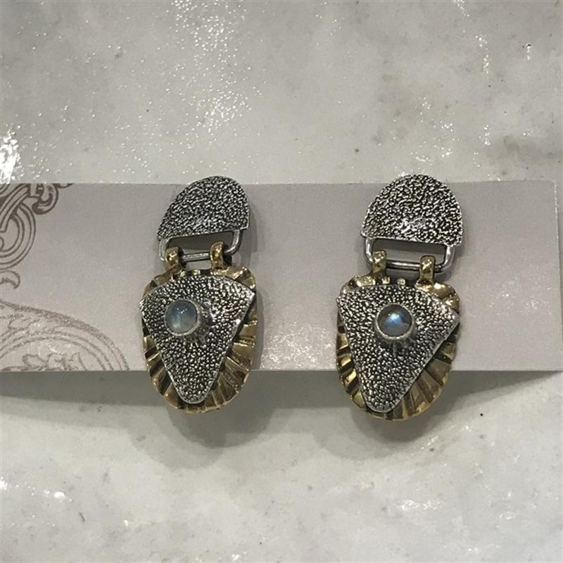 Earring Silver,Brass, Moonstone, 2020