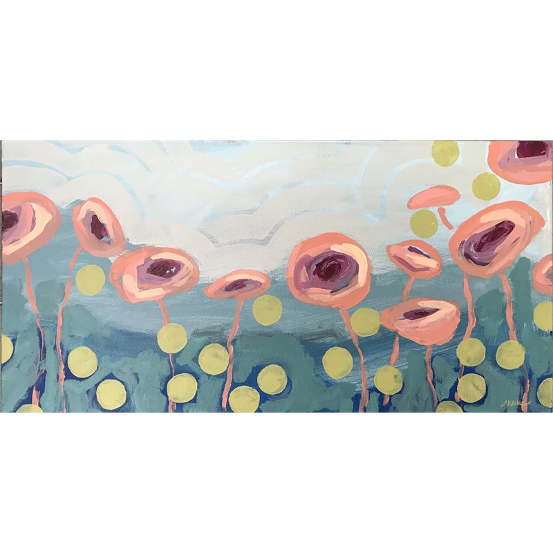 Peach Poppies + Dots