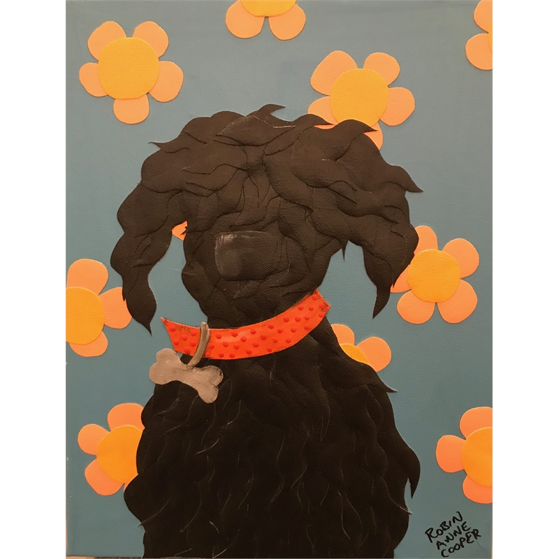 Black Dog with Orange Flowers by Robin Cooper