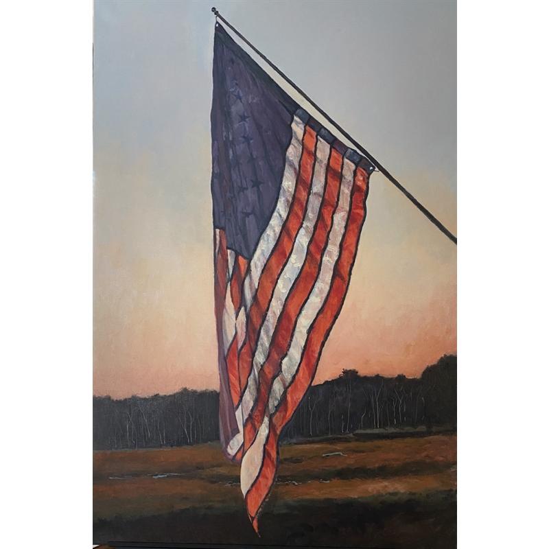 Sunset Behind Flag Hanging Over a Split Tidal River, 2020