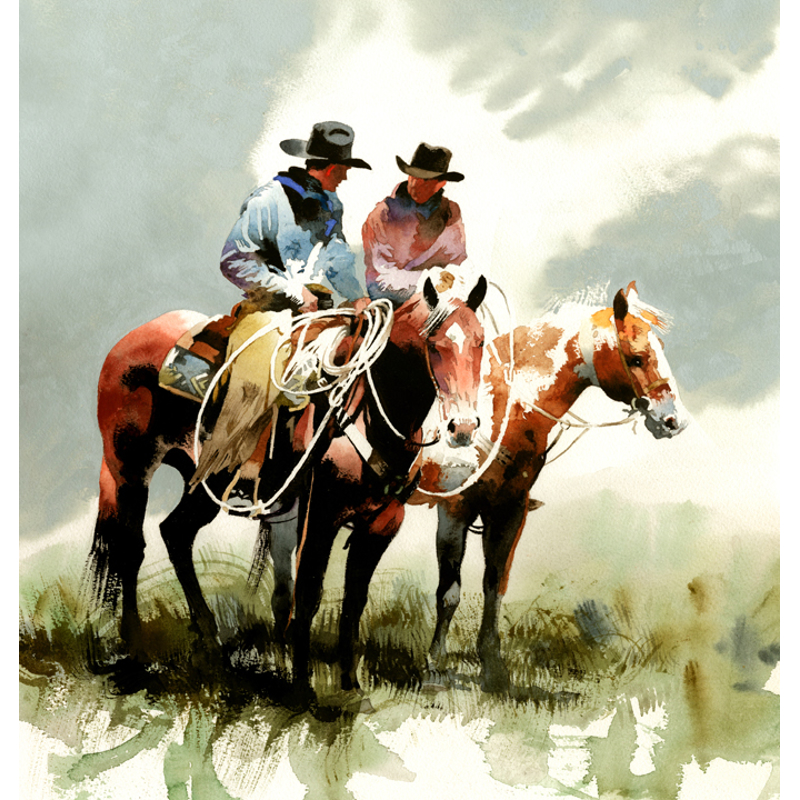 Two of a Kind (Two cowboys mounted)