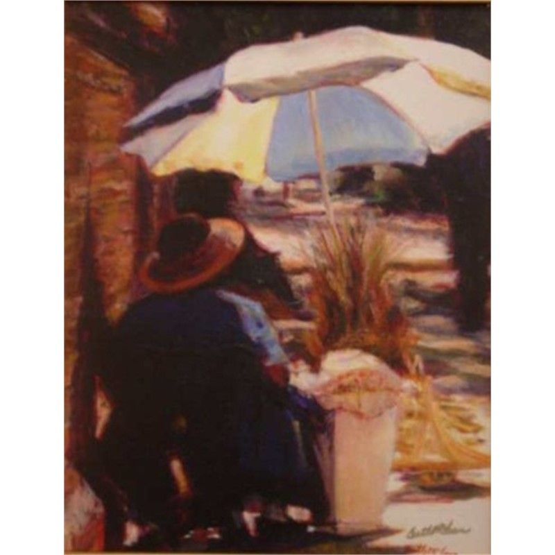 Basket Lady with Blue & White Umbrella