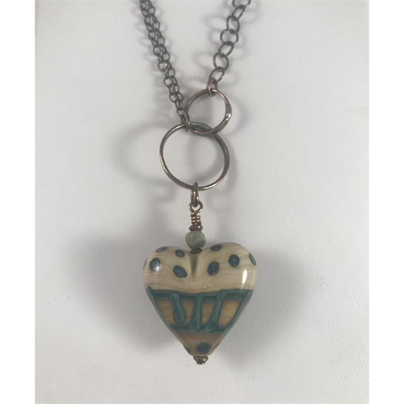 Ivory and Okanos Lampworked heart pendant on copper chain by Linda Sacra