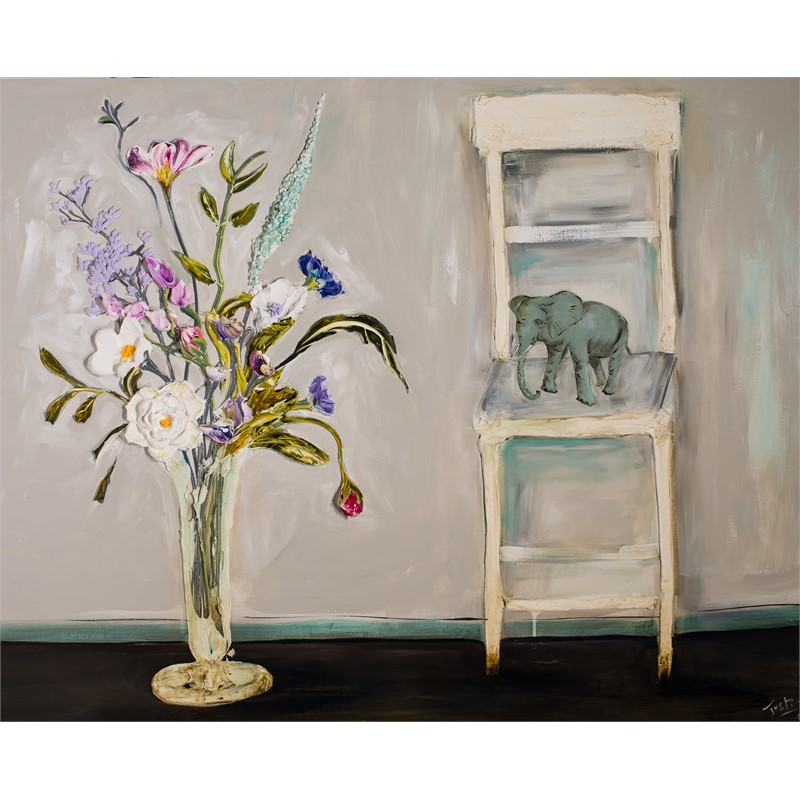 FLORAL STILL LIFE WITH CHAIR AND ELEPHANT, 2019