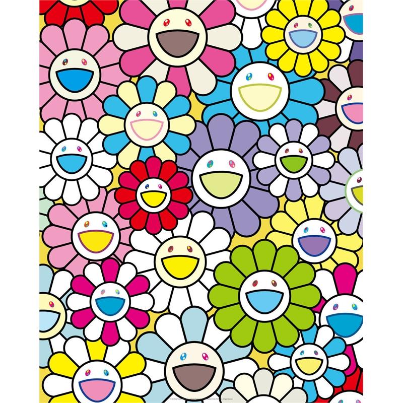 Small Flower Painting with Yellow, White and Purple Flowers by Takashi Murakami