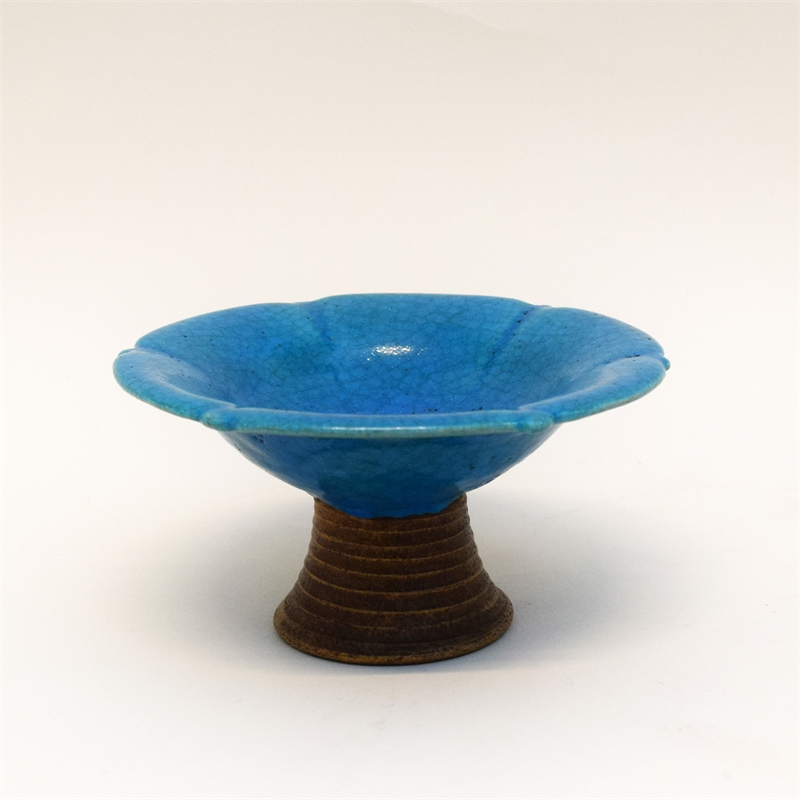 TURQUOISE GLAZED AMERICAN POTTERY TAZZA, American, 20th century