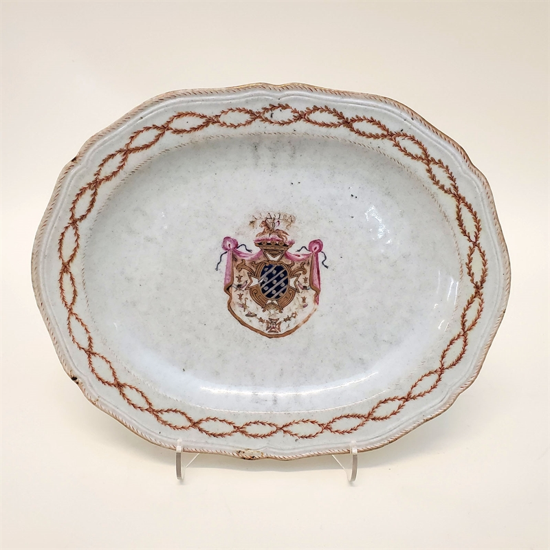 OVAL PLATTER WITH CENTRAL ARMS, ADASTRA, Chinese, 18th century