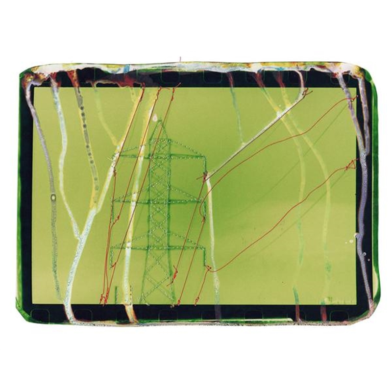 Untitled (green powerlines with orange) by Andrew Thompson