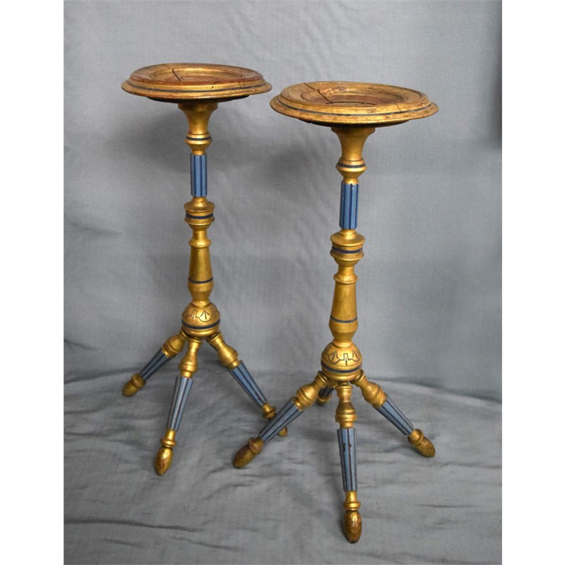 PAIR OF GILT-WOOD CANDLE STANDS, 19th century