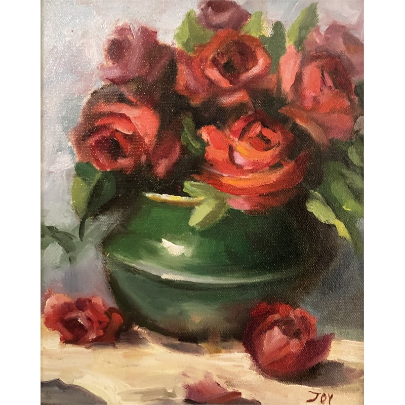 Red Roses, Green Vase