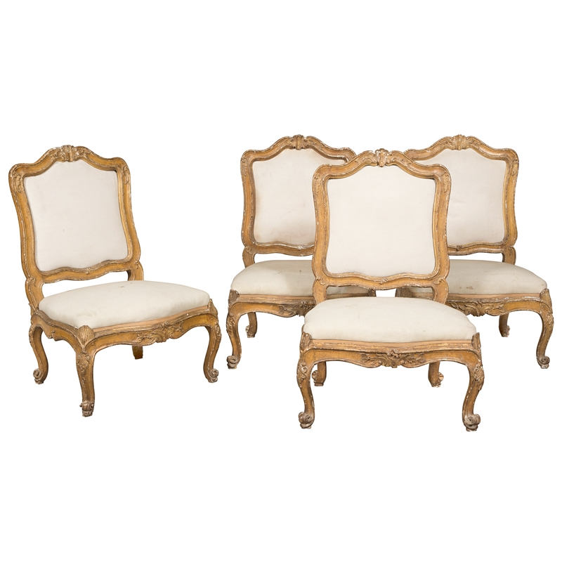 PAIR OF LOUIS XV PAINTED SIDE CHAIRS, French, 18th century