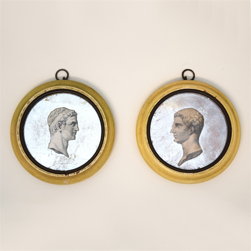 PAIR OF EGLOMISE DECOUPAGE BUSTS MEDALLIONS, Continental, 19th century