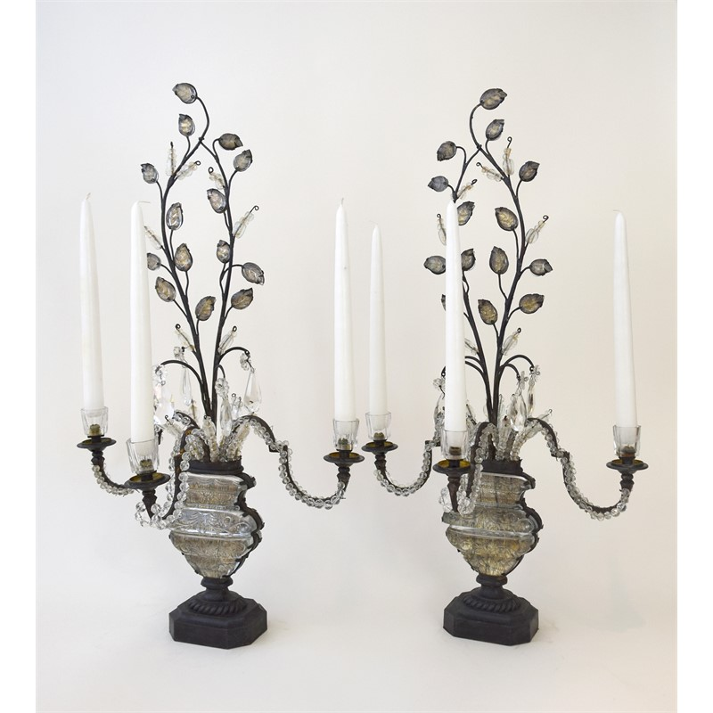 PAIR OF BAGUES THREE-LIGHT CANDELABRA, French, circa 1920s