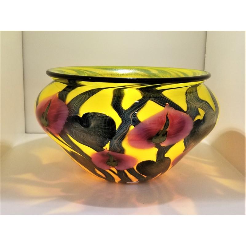 DN#59 Magnum Yellow Bowl w/Cynthia Flowers