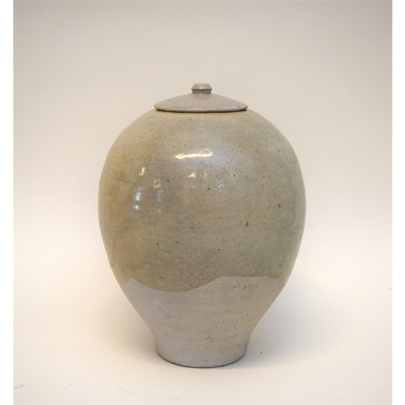 Chinese Brush Pot or Jar Greenish Glaze