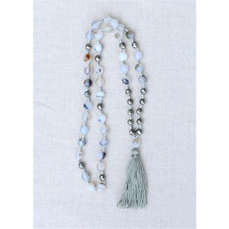 Montana Agate & Pyrite Tassel Necklace