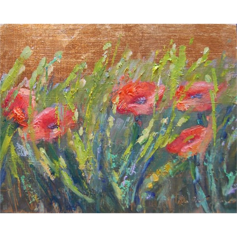 Italian Poppies on Gold Two