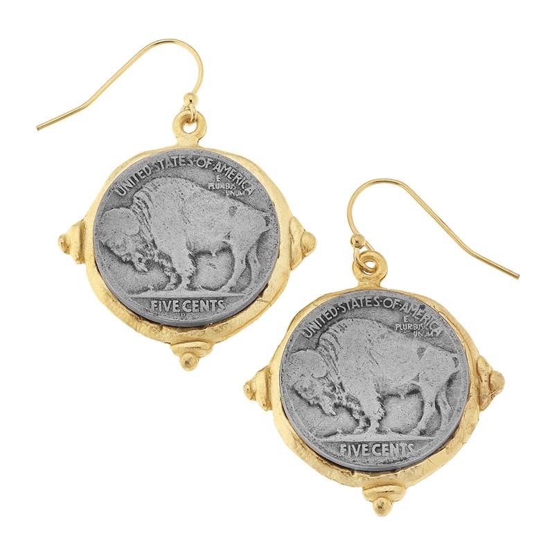 Vintage Buffalo Nickel & Gold Vermeil Earings
