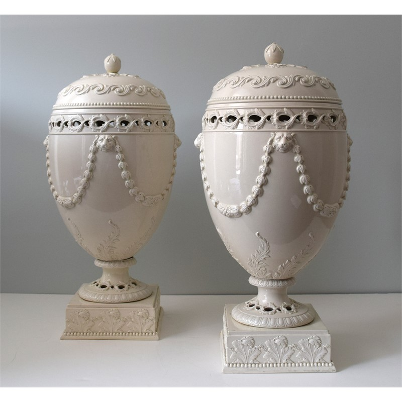 PAIR OF WEDGWOOD CREAMWARE URNS, English, late 18th-early 19th century