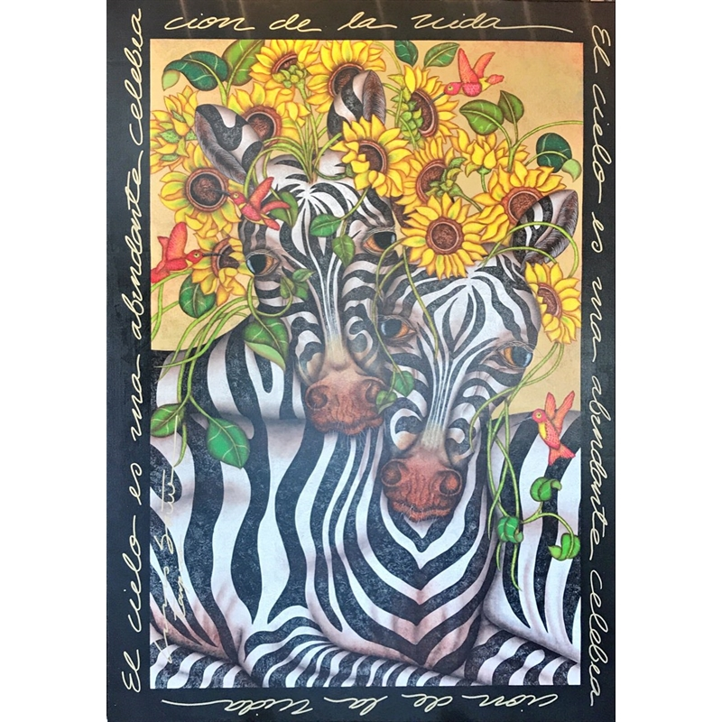 Heavenly Zebras Manes Made Of Flowers