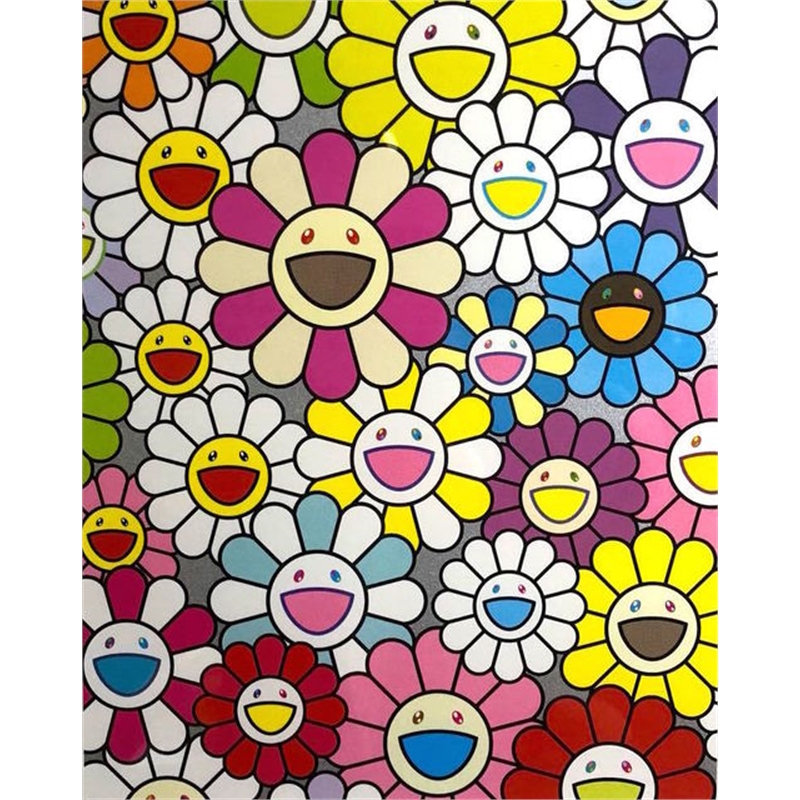 Small Flower Painting in Pink, Purple and Many Other Colors by Takashi Murakami