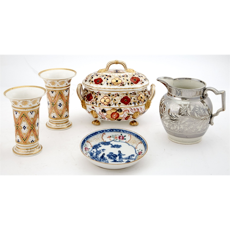 GROUP OF PORCELAIN AND POTTERY TABLE ARTICLES, Continental, 19th century