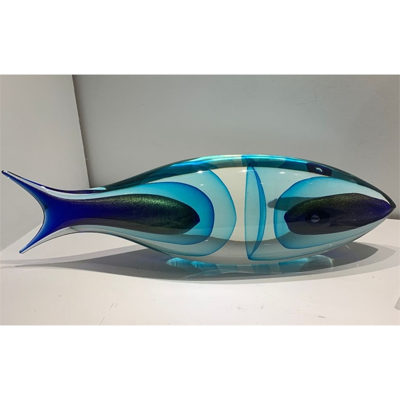 Aqua and Cobalt Glass Fish