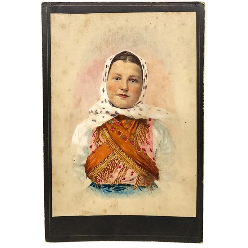 Hungarian Painted Cabinet Card 2, Circa 1880s