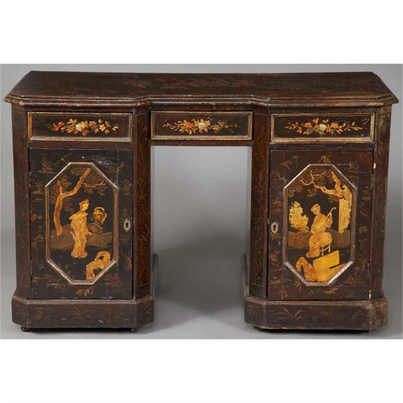ENGLISH JAPANNED PEDESTAL DESK, English, 19th century