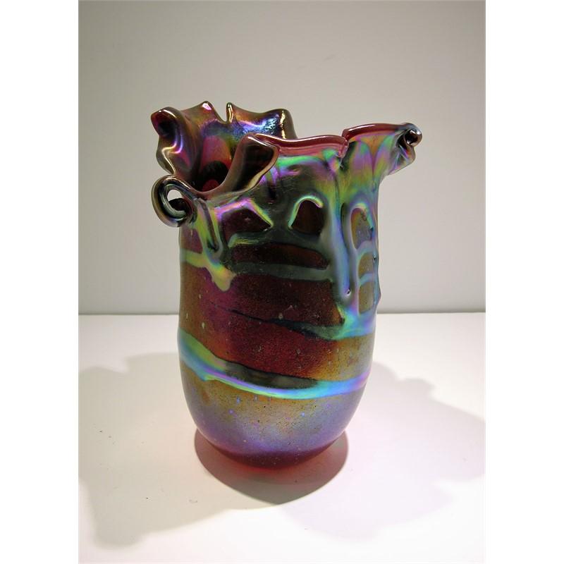 Selenium Red Lava Cypriot Vase w Split Lip by Charles Lotton