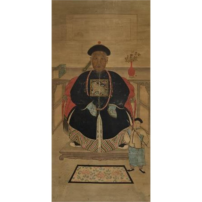 CHINESE ANCESTRAL SCROLL PAINTING OF A SEATED OFFICIAL WITH AN ATTENDANT WITH PIPE, Chinese, late 18th / early 19th century