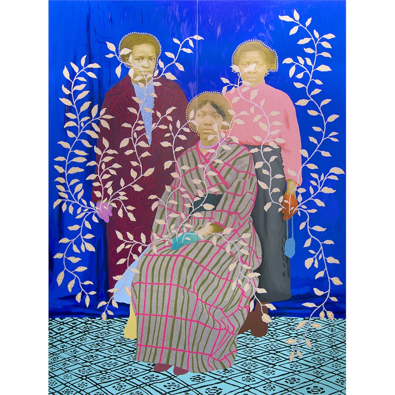 Untitled (Three Women with Blue Curtain and Silver and Yellow Leaves) by Daisy Patton