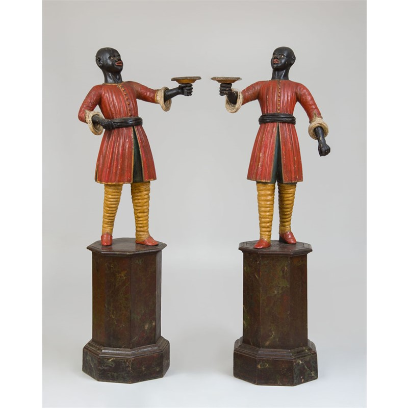 PAIR OF PAINTED FAUX MARBLE BLACKAMOOR TORCHERES ON STAND, American, 19th century