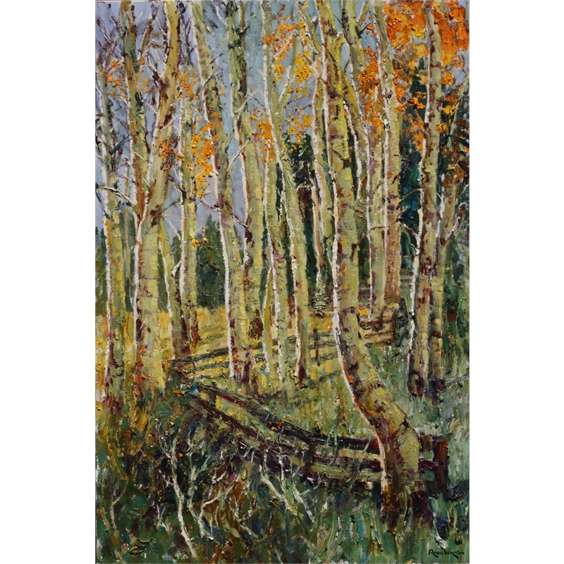 Aspen Friends Along a Fence by Alan Wolton