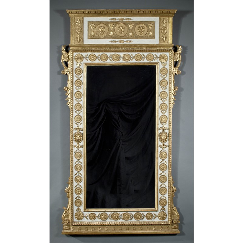 ITALIAN NEOCLASSICAL PARCEL GILT AND PAINTED MIRROR, Italian , late 18th century
