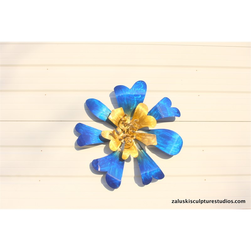 Blue & Gold Wall Flower