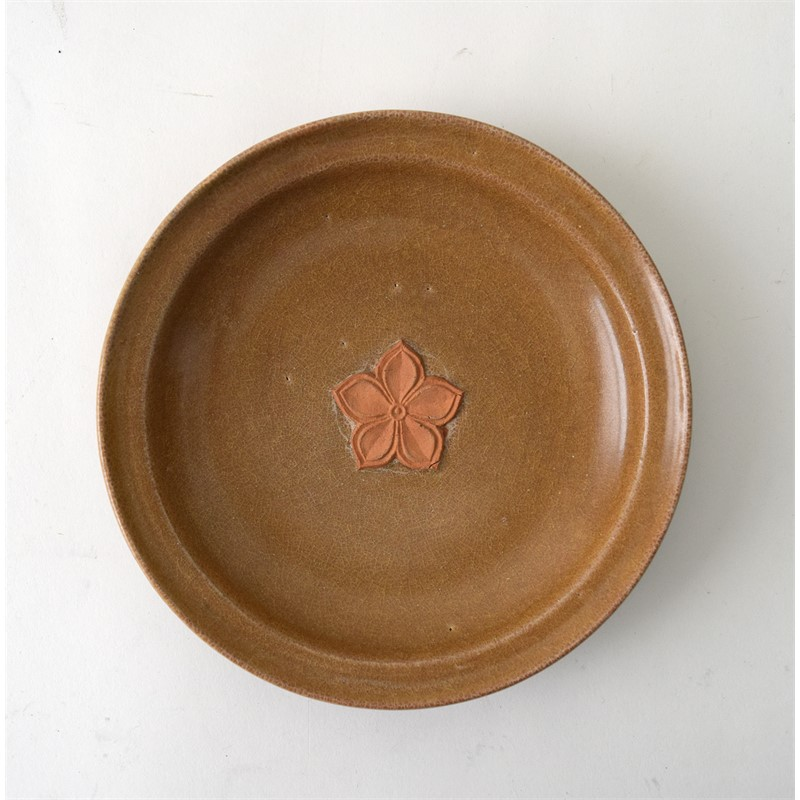 RARE  BISCUIT-DECORATED LONGQUAN GOLDEN CELADON DISH, Chinese, Yuan Dynasty (1260-1368)