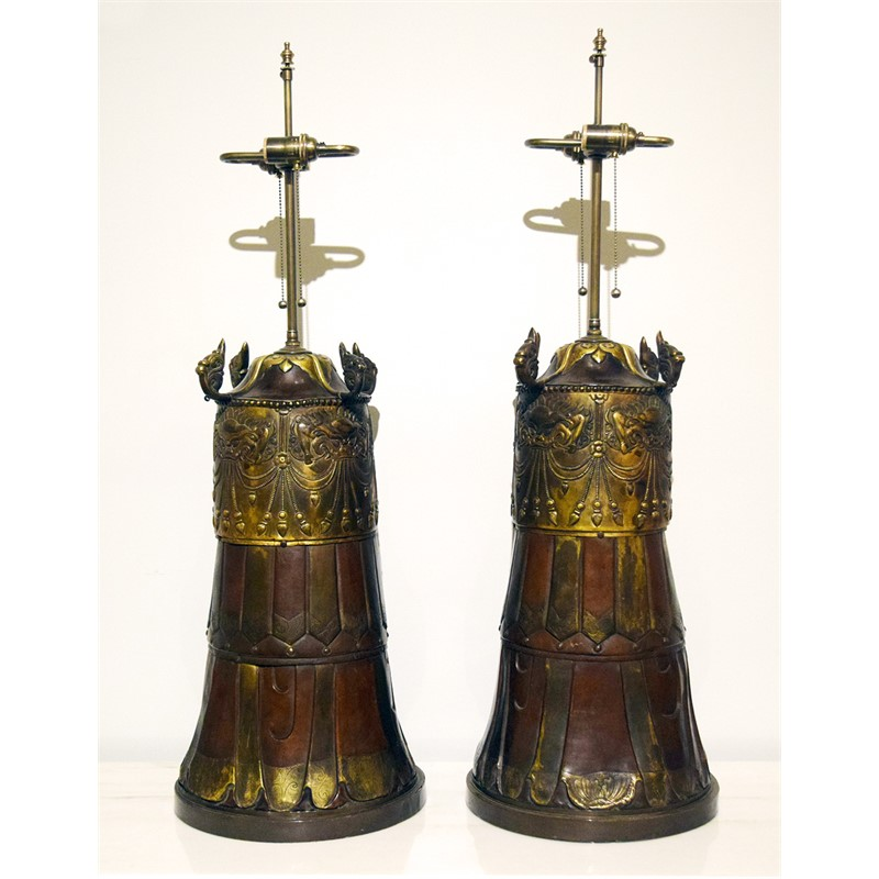 PAIR OF PATINATED AND GILT METAL CYLINDRICAL TABLE LAMPS, 20th century
