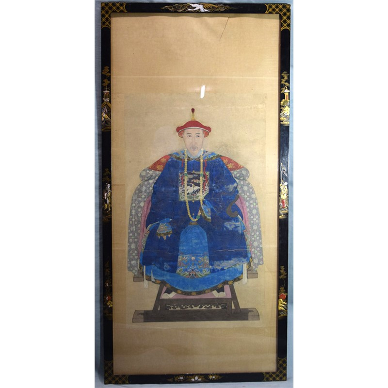 PAIR OF CHINESE ANCESTRAL PORTRAITS, SEATED OFFICIAL AND HIS WIFE, China, Qing Dynasty, late 18th/early 19th century