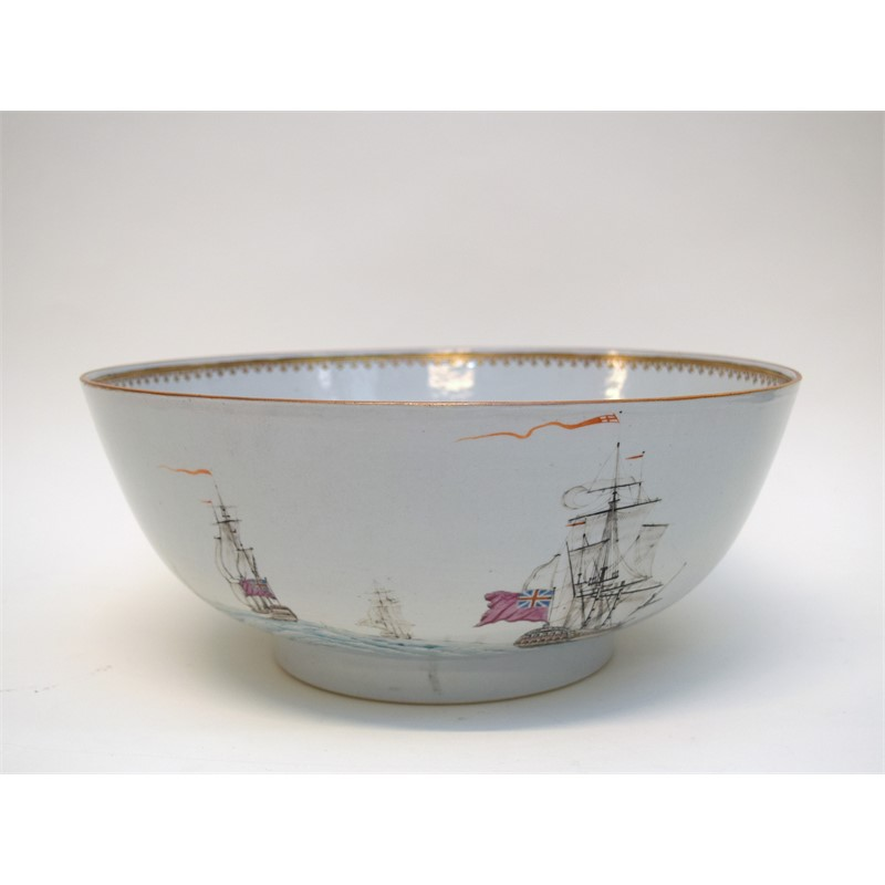 PUNCH BOWL WITH SHIPS, Chinese, late 18th century