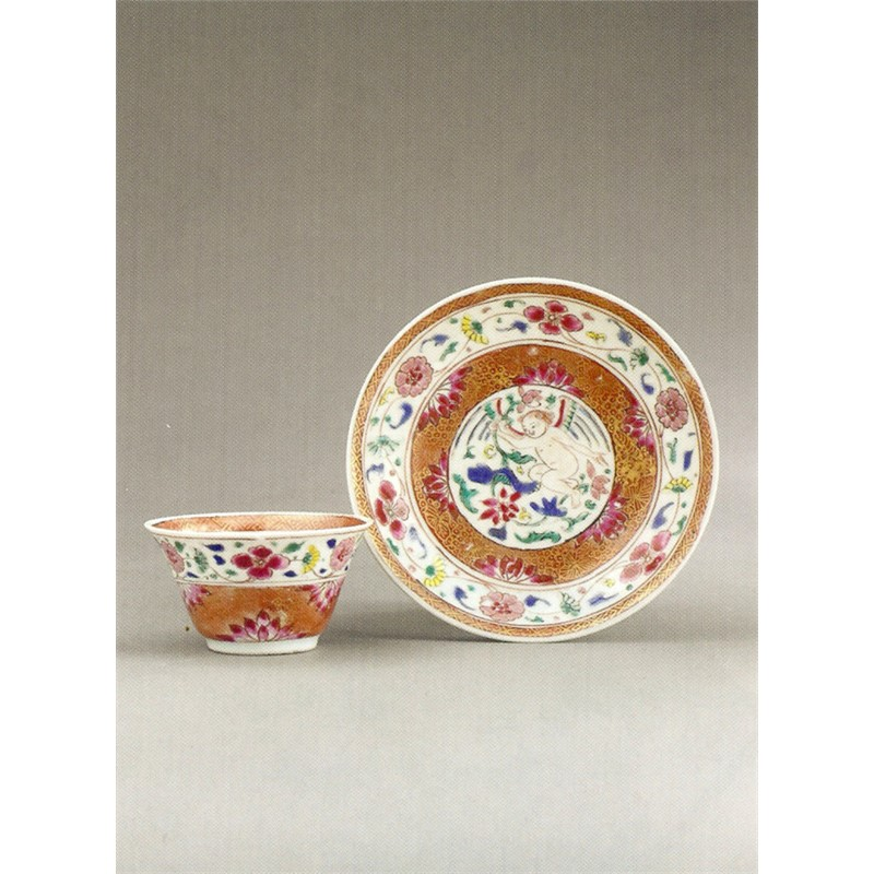 CHINESE EXPORT FAMILLE-ROSE TEABOWL AND SAUCER , Chinese, circa 1740