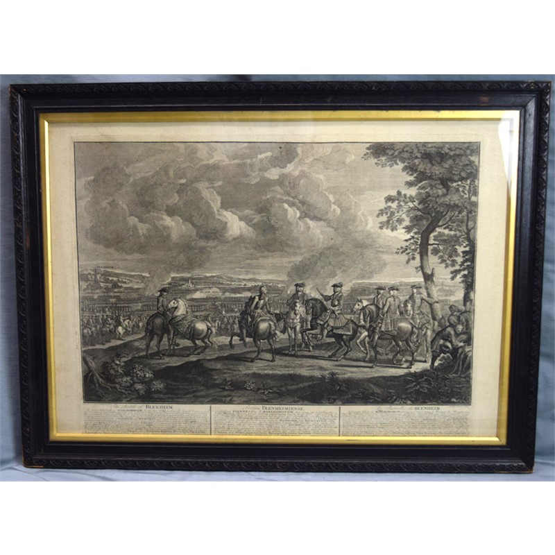 ENGRAVINGS BY L. LAGUERRE: SCENES FROM THE BATTLE OF BLENHEIM, BATTLE OF RAMILLIES, AND BATTLE OF TANIERES, English, 18th century