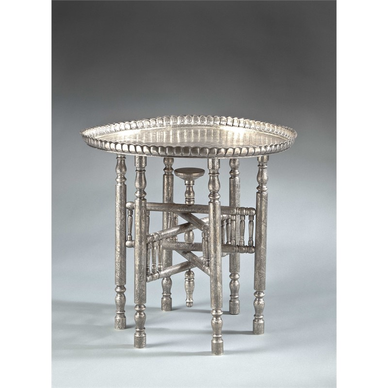 EGYPTIAN SILVER METAL OCCASIONAL TABLE, Egyptian, circa 1930s