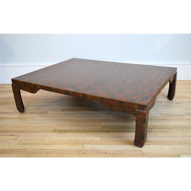 SINGLE RED WAKASA LACQUER LOW TABLE, Japanese, 19th century