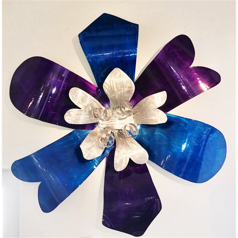 Blue, Purple and Silver Wall Flower