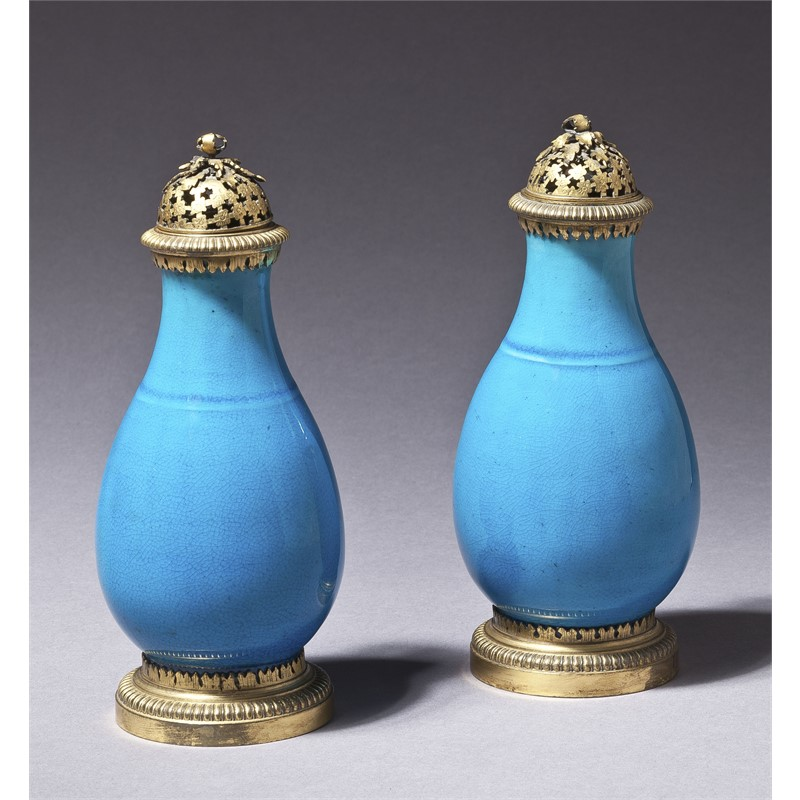 PAIR OF CHINESE GILT METAL MOUNTED TURQUOISE GLAZED PORCELAIN PERFUMERS, Chinese, 18th century